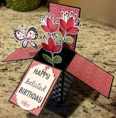 Card of the Day - Simplified Card in a Box - Perky Penny Papers Pop Up Box Cards, Card Boxes, 3d Cards, Exploding Box Card, Creative Box, Send A Card, Shaped Cards, Small Cards, Scrapbook