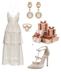 """Bridal Shower"" by zandrasmyth ❤ liked on Polyvore featuring René Caovilla, self-portrait, Dolce&Gabbana and BEA"