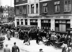 Queueing during a potato shortage on the Westmoreland Road in Walworth, June 1947.