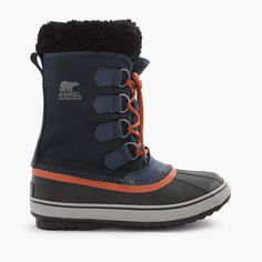 Founded in Ontario, Canada, in 1908, Sorel has long been synonymous with cold-weather footwear. Plus, they were the first company to combine durable uppers with waterproof rubber bottoms and warm lining, which is totally genius, if you ask us. Designed exclusively for us, this navy-and-orange version of Sorel's classic Caribou boot keeps wet snow (and ice and salt and other winter horribles) away from your warm socks. <ul><li>Half sizes order up.</li><li>Nylon upper.</li><li>Felt lining…