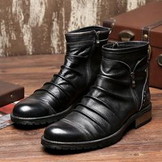Real Leather British Street Style Men Martins Ankle Boots For Casual Walking Outdoor Hunting Waterproof Fashion High-top Shoes
