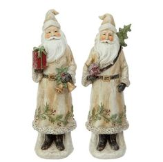 Holiday Memories Woodland Santa - Set of 2 Santa Decorations, Santa Figurines, Favorite Holiday, Beautiful Hands, Old World, Woodland, Garden Sculpture, Great Gifts, Hand Painted