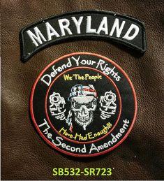 LAS VEGAS  and NEVER SURRENDER Small Badge Patches Set for Biker Vest Jacket