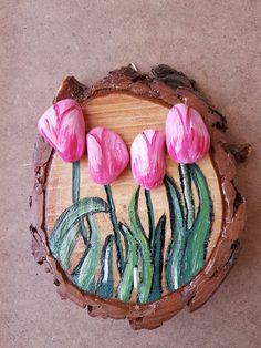 Stone art, tas sanati, lale, tulips