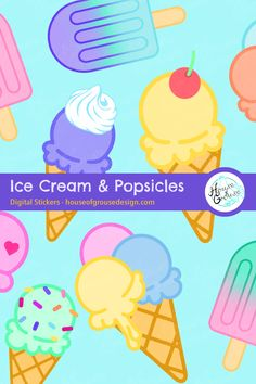 Create a decorative party scene with this set of cute printable ice cream and popsicle stickers. By House of Grouse Design, the cutest digital scrapbooking warehouse. Easy Arts And Crafts, Paper Crafts For Kids, Arts And Crafts Projects, Pattern Designs, Retro Pattern, Paper Packs, Party Scene, Grouse, Kawaii Drawings