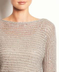 Sparkle Open Knit Sweater | Ann Taylor