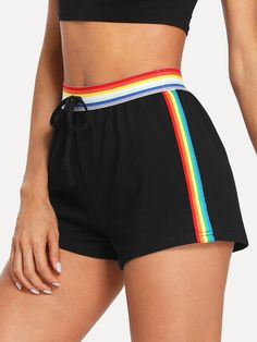 Sporty Rainbow Stripe Regular Mid Waist Black Striped Waistband & Sideseam Sweat Shorts with Belt Mode Outfits, Outfits For Teens, Sport Outfits, Casual Outfits, Pride Outfit, Girls Fashion Clothes, Teen Fashion, Fashion Outfits, Champion Clothing