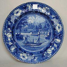 : HISTORICAL BLUE STAFFORDSHIRE PLATE. Dam and Waterworks Philadelphia