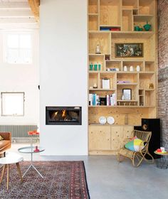 64 Smart Scandinavian Fireplace Ideas Makeover for Your Living Room - Page 36 of 66 Scandinavian Fireplace, Scandinavian Furniture, Scandinavian Home, Home Living Room, Living Spaces, Plywood Shelves, Plywood Boxes, Wooden Shelves, Decoracion Vintage Chic