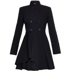 Alexander McQueen Double-breasted wool-blend coat (37,630 MXN) ❤ liked on Polyvore featuring outerwear, coats, jackets, black, black flared coat, alexander mcqueen, wool blend double breasted coat, double-breasted coat and flare coat