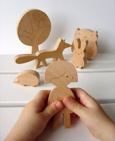 Wooden toy - Girl and woodland animals - Forest animals - Gift ideas - eco friendly - waldorf