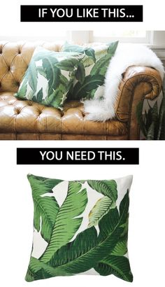 Bring the outdoors in with Banana Palm Pillows. No watering required. @luluandgeorgia