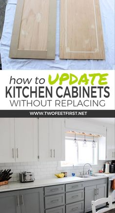 Want to update kitchen cabinet without replacing them. Learn how to update kitch… Want to update kitchen cabinet without replacing them. Learn how to update kitchen cabinets for cheap by adding trim and painting the cabinets. Kitchen Cabinets Before And After, Update Kitchen Cabinets, Kitchen Redo, New Kitchen, Kitchen Ideas, Cheap Cabinets, Kitchen Updates, Kitchen Themes, Country Kitchen