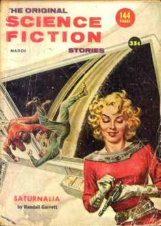 1957 Meanwhile, in space, Capt. Marilyn is putting bullets in her groovy space ray-gun.