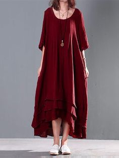Retro Largo de Puro Color de Cortas Mangas de Algodón Vestido Para Mujeres
