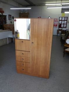 Wardrobe With Mirror & Drawers -------------------------------- H-153cm W-92cm D-46cm Was £65 Now £52 (PC166)