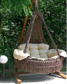 Restaurant Chairs For Sale Product - hammock garden Macrame Hanging Chair, Macrame Chairs, Macrame Art, Macrame Projects, Hanging Chairs, Diy Home Decor, Room Decor, Boho Home, Restaurant Chairs