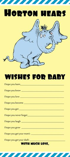 Dr Suess -- Horton Baby Wishes - Digital File. $8.00, via Etsy.