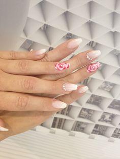 Babyboomer , uv gel, Aquarell Rose , Strass Baby Boomer, Nails, Beauty, Nail Designs, Watercolor Rose, Finger Nails, Ongles, Nail, Beauty Illustration