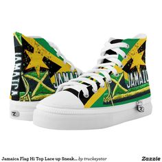 on sale 3d3c1 9d5e5 Jamaica Flag Hi Top Lace up Sneakers Jamaica Flag, Gear Shop, Green Shoes,