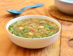 Ginisang Munggo at Sotanghon-A healthy and delicious soup made with mung beans, shrimp and cellophane noodles.