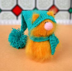 SALE yellow Cat in Blue Hat Hand-Knitted cat Toy by MiracleStore