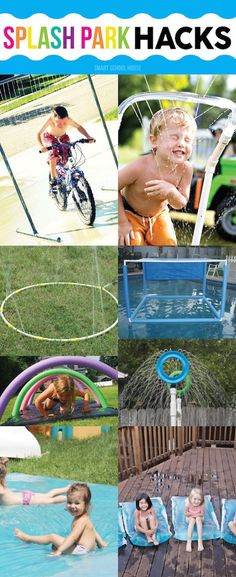 Splash Park Hacks - ideas for DIY sprinklers, how to make a water blob, and back yard waterpark fun with noodles and other DIY water play activities. Summer Fun For Kids, Summer Activities For Kids, Diy For Kids, Kids Fun, Outdoor Games, Outdoor Fun, Outdoor Activities, Outdoor Toys, Water Play Activities