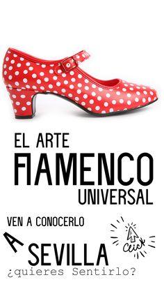 ¿QUÉ ES EL FLAMENCO? El flamenco es conocido por su gran intensidad emocional, por sus singulares movimientos de brazos en el baile, sus intensos zapateaos, sus profundos lamentos en el cante y sus rasgueos a la guitarra. En 2010 la Unesco lo declaró Patrimonio Cultural de la Humanidad. Se asocia tradicionalmente con los gitanos, porque quizás sea el grupo que más aportó a su nacimiento y desarrollo.  ¿CÓMO ES EL ARTE FLAMENCO? +INFO Kitten Heels, Birth, Arms, Guitar, Sevilla, Group, Dancing