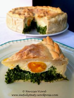 Its made with ricotta, spinach and eggs. Spanakopita, Ricotta, Spinach, Ethnic Recipes, Food, Pie, Essen, Yemek, Meals