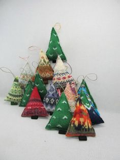 Idea - Knitted Christmas tree ornaments £4.68 - old felted sweaters