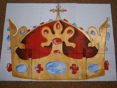 plakát (88x63cm) k vytvoření skládacích obrázkových kostek, přípravy oslav ve škole k narození Karla IV