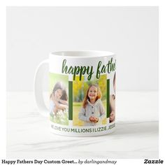 Happy Fathers Day Custom Greeting 4 Photo Green Coffee Mug Happy Fathers Day Photos, Stepdad Fathers Day Gifts, Gifts For New Dads, Gifts In A Mug, Green Coffee Mugs, 4 Photos, Dad Birthday, You Are The Father, Diy For Kids