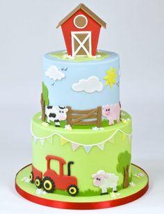 Cute Farm Yard Cake Tutorial brought to you by FMM Sugarcraft. The latest cutter. Cute Farm Yard C Tractor Birthday Cakes, Animal Birthday Cakes, Farm Animal Birthday, 2 Birthday Cake, 1st Birthday Cakes For Boys, Birthday Ideas, Farm Animal Cakes, Farm Animals, Animal Cakes For Kids