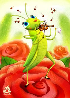 I made a new illustration for my Cheerful Insects collection. This time it's a grasshopper playing the Violin while getting all emotional about the beautiful melodies. Music Drawings, Whimsical Art, Graphic Illustration, Animal Illustrations, Cartoon Art, Cute Art, Illustrators, Art For Kids, Character Design
