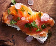 Smoked Salmon Smørrebrød - Bon Appétit (also works well with Greek yogurt and rye crisps)