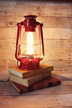 Lantern Light, Lantern Night Light, Lantern Lamp, Electric Kerosene Lantern, Electric Lantern, Table Lamp, Red Table Lamp, Red Lantern