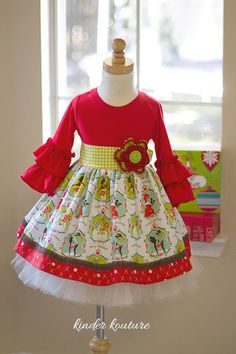 Girls Snow Village Holiday Dress with Knit Bodice and Cotton Skirt. Cotton Fabric Made in the USA by Kinder Kouture Little Girl Fashion, Little Girl Dresses, Kids Fashion, Girls Dresses, Christmas Fashion, Christmas Dresses, Christmas Sewing, Christmas Crafts, Sewing Clothes