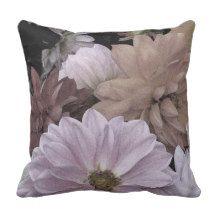 Dahlia Flower Garden Abstract Floral Throw Pillow
