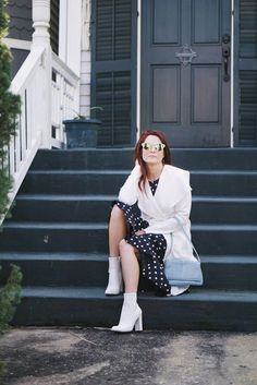 white booties, blue bags, white coat, polka dot dresses, galveston stairs