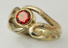 Custom Made 14kt Palladium White Gold, Red Gold And Sterling Mokume Gane Ring With Garnet