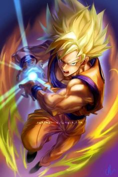 Dragon ball z super saiyan goku. He is one of the most powerful characters on this show. He is a goofy guy and also a very good father Super Saiyan Goku, Dragon Ball Z, Dc Comics, Anime Comics, Fan Art, Super Anime, Manga Anime, Anime Art, Z Arts