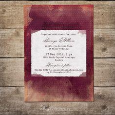 Invitation watercolor https://www.etsy.com/listing/181029332/burgundy-wedding-invitation-bordeaux-and