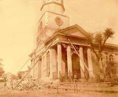 1886 Charleston, SC Earthquake Photo of St. Philips Church ....