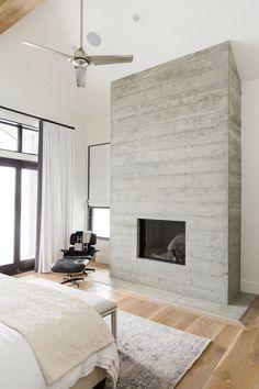 concrete fireplace.