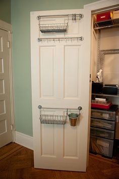 Easy Back-of-the-Door Organization Rods & Baskets (love the one with the hooks: good for clothes, jewelry, belts, scarves, etc.)