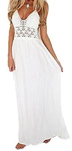 1f2da79e3 AILIENT Lace Stitching Chiffon-Kleid Sexy und Elegant Halfter Overall  Aushöhlen V-Ausschnitt Strandkleid