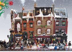 Lego Christmas Village, Lego Winter Village, Lego Modular, Weihnachten In London, Casa Lego, Victorian London, Victorian Era, Victorian Street, Lego Display