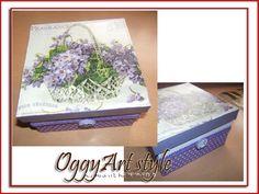 violet decoupage box