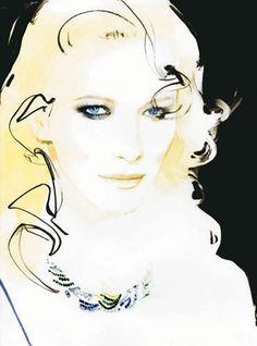 David Downton illustrates Cate Blanchett for the cover of Vogue Australia's 50th anniversary issue.