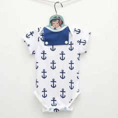 Super cute, nautical-themed onesie that is perfect for summer   Sailor Baby Boy Onesie  Anchors Print Nautical by mabelretro, $30.00